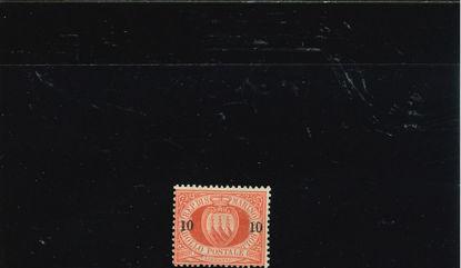 Immagine di 11 - STEMMA 10/10 c. su 20 rosso VAL. 1